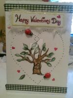 Personal Tree and Bugs Valentines Day Card by PossumPip-Creations
