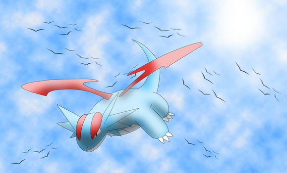 Commission 2/6: Salamence in the sky by OneLoveDrew