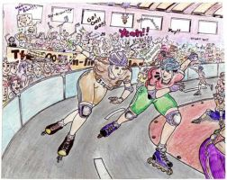 Roller derby action by soulblade35