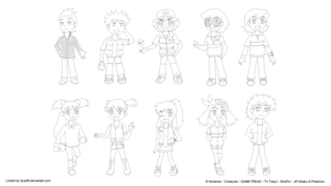 PKMN IV - Chibis 2 - Lineart by Blue90
