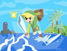 Link Jumping through the Mist by Skatoonist
