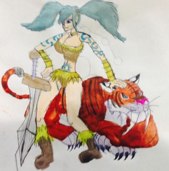 Barbarian girl and the Smilodon by masonday