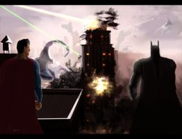 Superman Batman alien invasion concept by burning7ducks