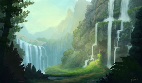 The Sword by the Falls by KendallHaleArt