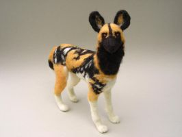 Needle felted African Wild Dog by creturfetur