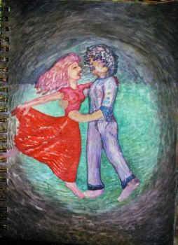 Dancing Couple, Watercolor Sketch 2015 by misterwackydoodle