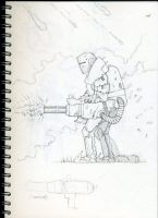 Fallout Inspired Gunner Sketch by lcdazzara