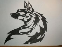Tribal wolf by AkvileS