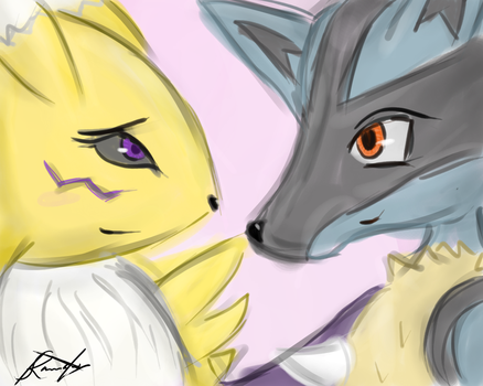Lucario X Renamon by k-the-dragonknight