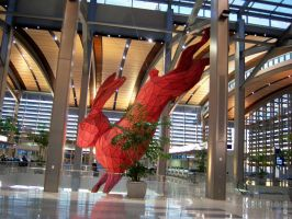 Leaping Rabbit at SMF Airport Terminal B by DearestLeader