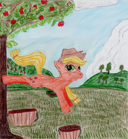 Applejack bucking for apples by GuillermoGage