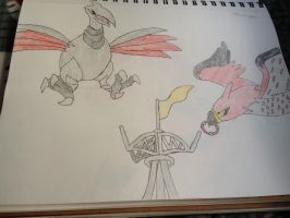 Pokeringer Competition, Skarmory vs Talonflame! by Darkshadowarts