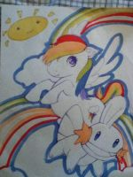 Special Rainbow Dash and Mudkip Comission by cloudyrainbow561