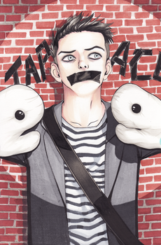 The Boy with the Taped Face by chiketart
