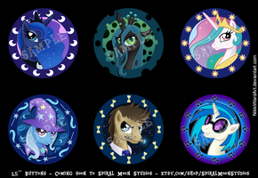MLP Royalty and Rockstars Button Set by NikkiWardArt