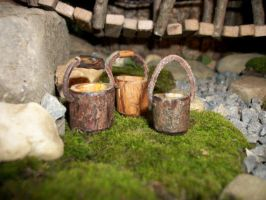 3 Miniature Wooden Buckets With Leather And Wood H by PymatuningCrafts
