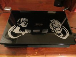 Garak and Garrus decorated laptop by sleepyhamsteri