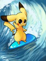 Surfing Pikachu by mikadove