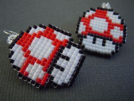 Red Mushroom Pixel Earrings by Pixelosis