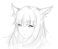 Miqo'te Sketch by BumbleRed