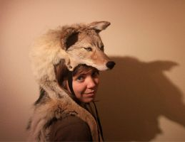 Coyote Taxidermy Headdress by NaturePunk