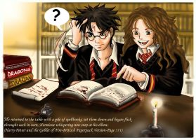 Harry,Hermione in the library by Yamatoking