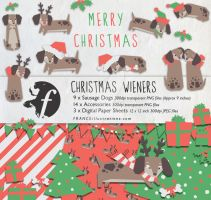 /// Christmas Wieners Dachshund Xmas Clip Art /// by guava