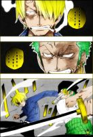 Sanji and Zoro Fight by AneaKitsu
