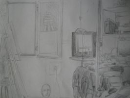 Drawing - My Room by Angeldhan
