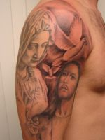 Beginning of Black and Grey Religious Sleeve by Mariotattoos