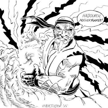 Inktober 2016, Day 10: Old Man Ryu by spacehamster