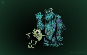 Monsters inc Mike-Sulley Vector by Vectorolon