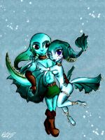 Zora Link and Princess Ruto by Danzafantasma