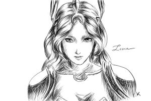 Leona black and white by TheEmpa