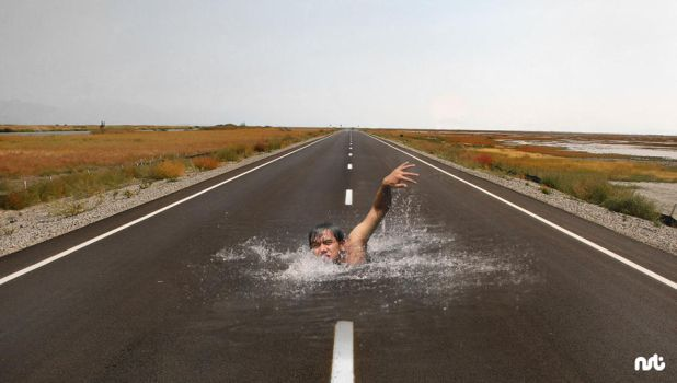 Swimming on the road by githanst