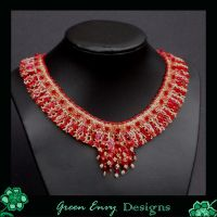 Red brocade collar by green-envy-designs