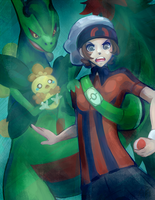 Mega Sceptile, Brendan and Shiny Torchic by AmyAubert