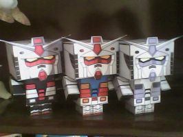 RX-78-1, 2 and 3 cubeecraft by daigospencer