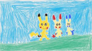 Plusle and Minun and Pikachu by carmenramcat