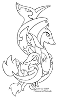 Snivy family Lineart by chili19