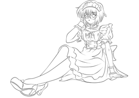 Yuki Maid lineart by darthplegias