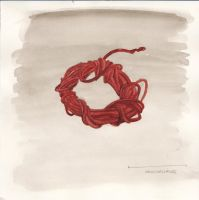 Watercolour: Red Leather Knot by Hedgefairy