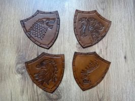 Game of Thrones Antique Effect Leather Coasters by Masktastic