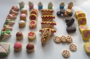 Mini food cake toppers by ginas-cakes