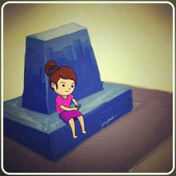 Little girl always busy with mobile phone by aoyp