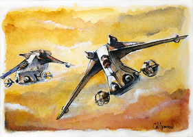 Gunship ACEO by CalSparrow