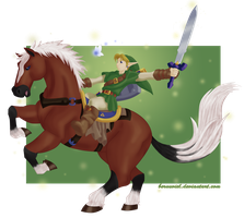LoZ: The Hero of Time and his faithful steed by Bernuviel