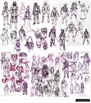 character sketches4--'012 by PoetryMan1