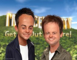 Ant and Dec Caricature by kevmcgivernart