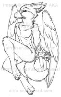 Pin Up: Male Gryphon Sitting Sketch 2012 by AirRaiser